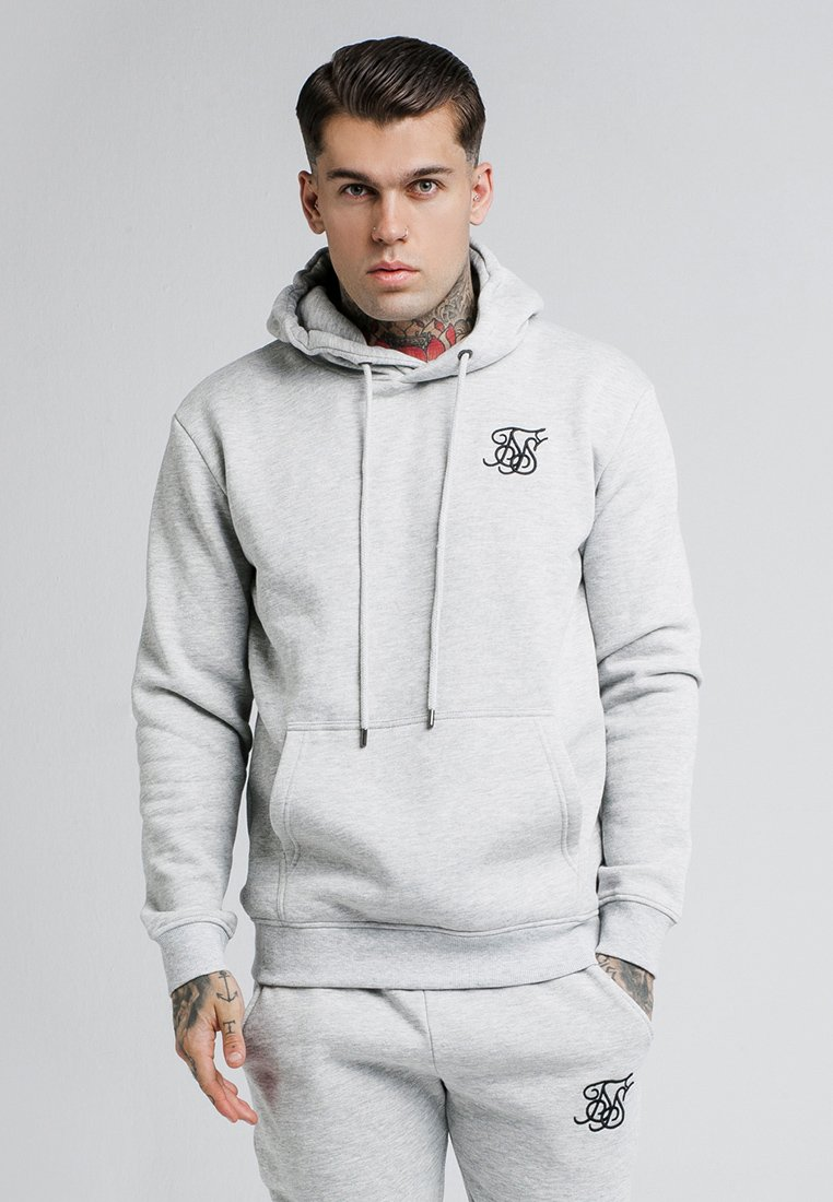 SIKSILK - MUSCLE FIT OVERHEAD HOODIE - Bluza z kapturem - grey marl
