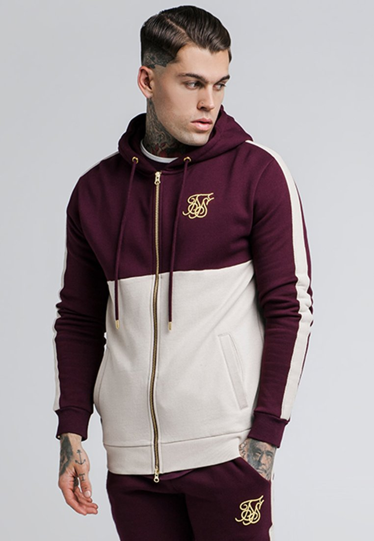 SIKSILK - CUT AND SEW TAPED ZIP THROUGH HOODIE - veste en sweat zippée - burgundy cream