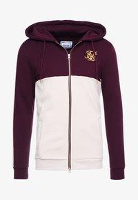 SIKSILK - CUT AND SEW TAPED ZIP THROUGH HOODIE - veste en sweat zippée - burgundy cream - 4