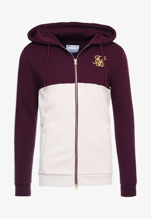 CUT AND SEW TAPED ZIP THROUGH HOODIE - Sudadera con cremallera - burgundy cream