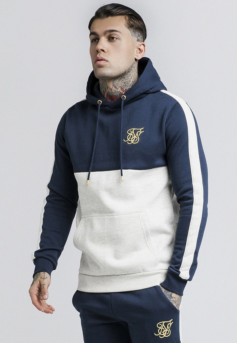 SIKSILK - CUT & SEW TAPED HOODIE - Hoodie - navy/snow marl