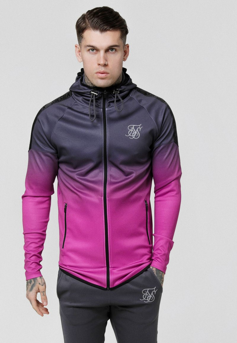 SIKSILK - RAGLAN ATHLETE FADE TAPED HOODIE - Trainingsjacke - grey/pink