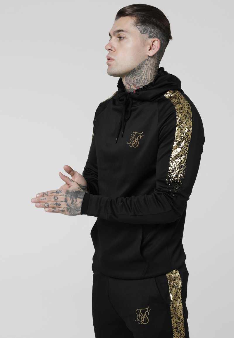 SIKSILK - FOIL FADE OVERHEAD HOODIE - Jersey con capucha - black / gold