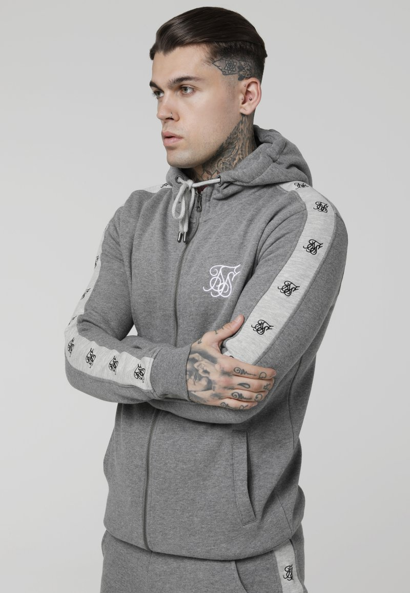 SIKSILK - INSET ZIP THROUGH HOODIE - veste en sweat zippée - grey marl/snow marl