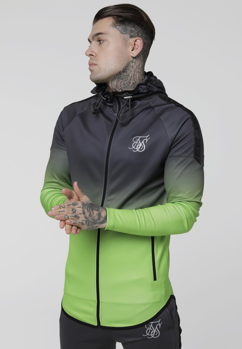 SIKSILK - RAGLAN ATHLETE FADE TAPED HOODIE - Verryttelytakki - grey/neon green