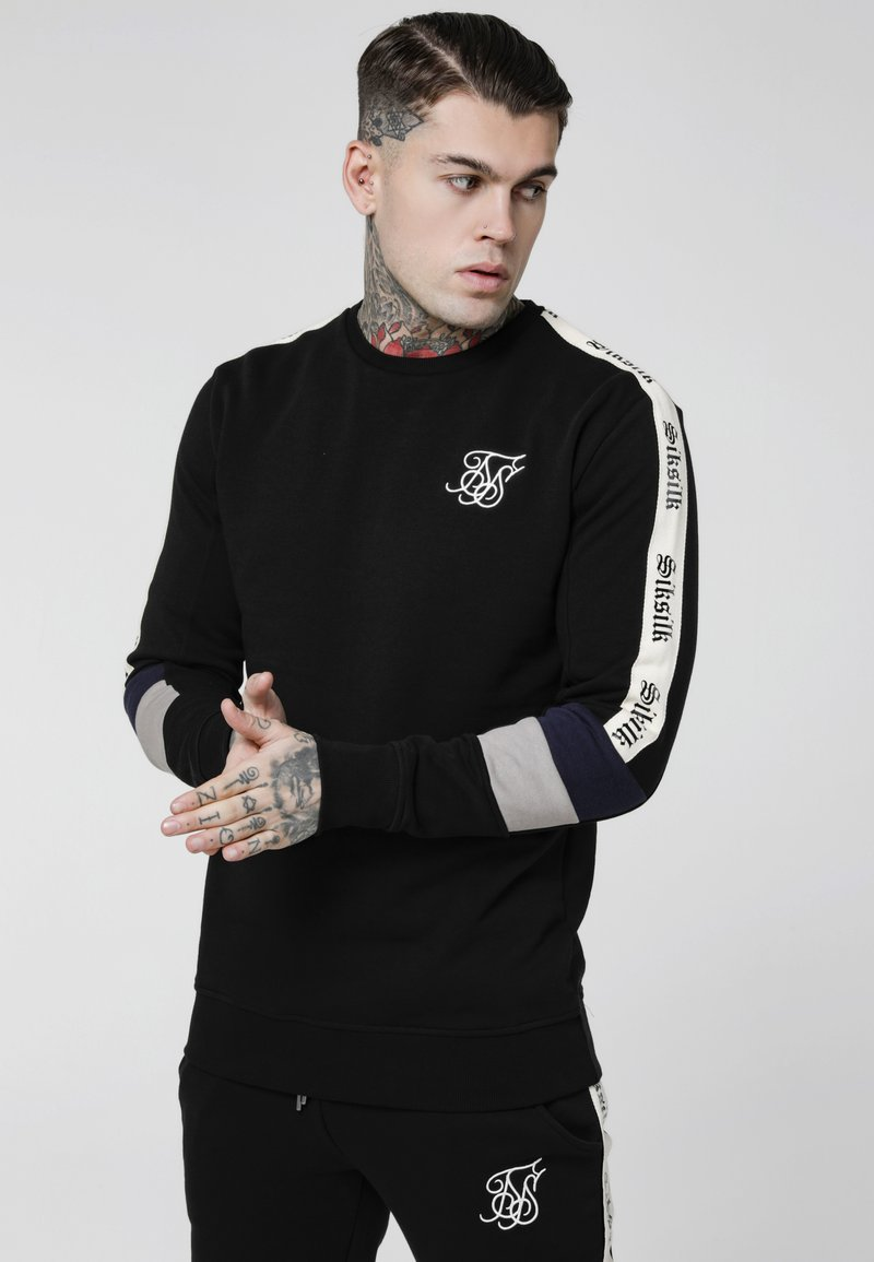 SIKSILK - RETRO PANEL TAPE CREW - Sweater - black/grey/navy