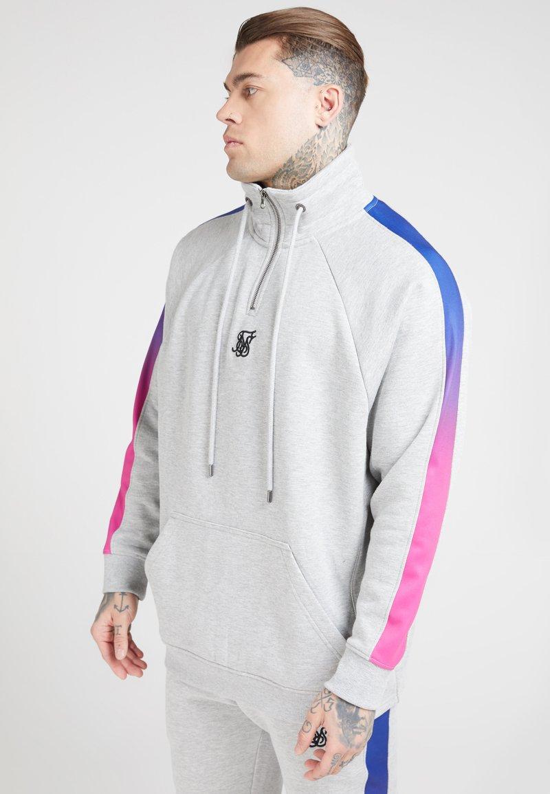 SIKSILK - OVERHEAD ZIP FADE PANEL - Sweater - grey marl/neon