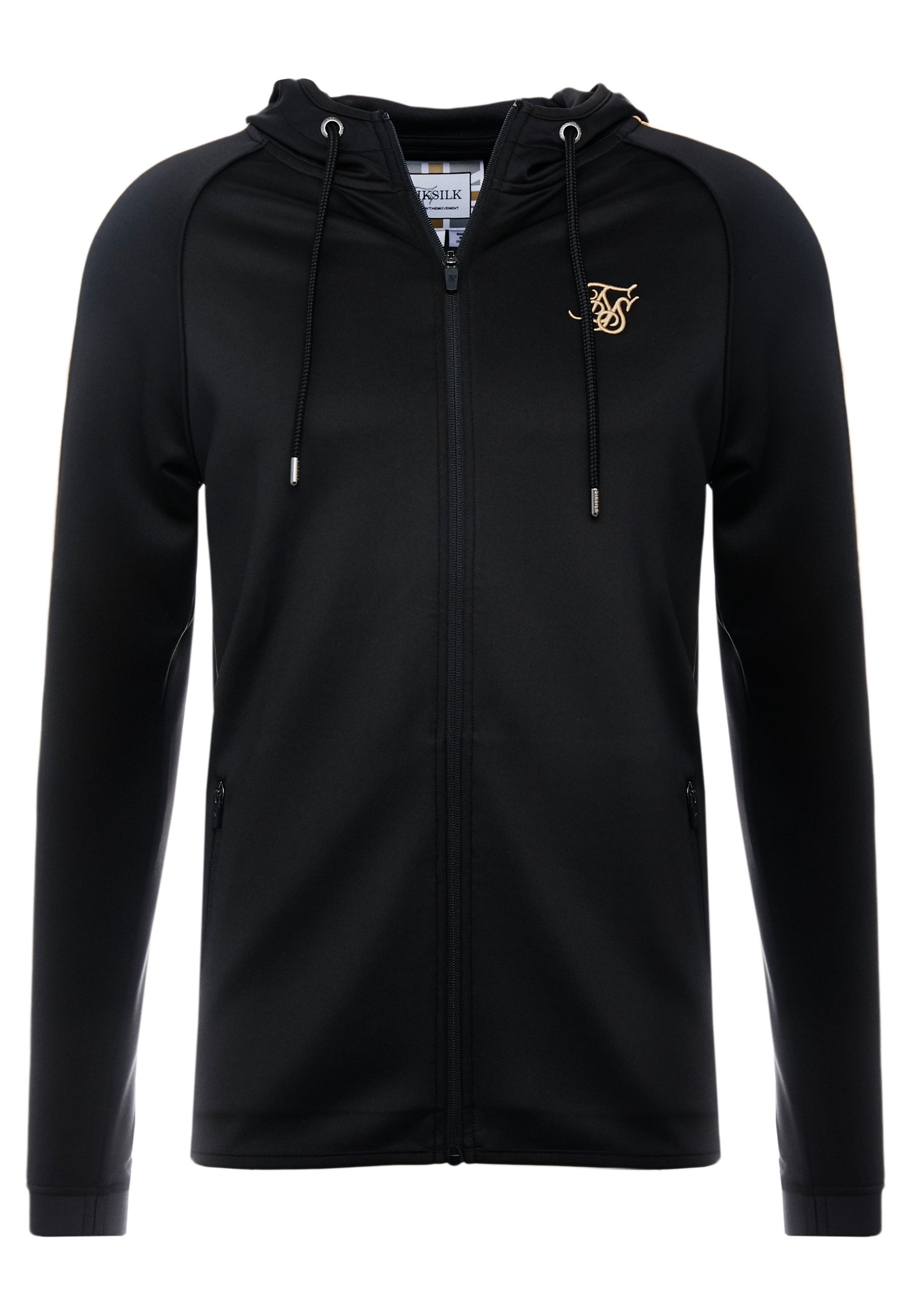 SIKSILK ZIPTHROUGH PANEL HOODIE - Bluza rozpinana - black/gold