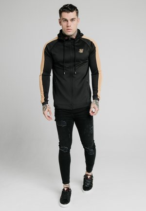 ZIPTHROUGH PANEL HOODIE - Mikina na zip - black/gold