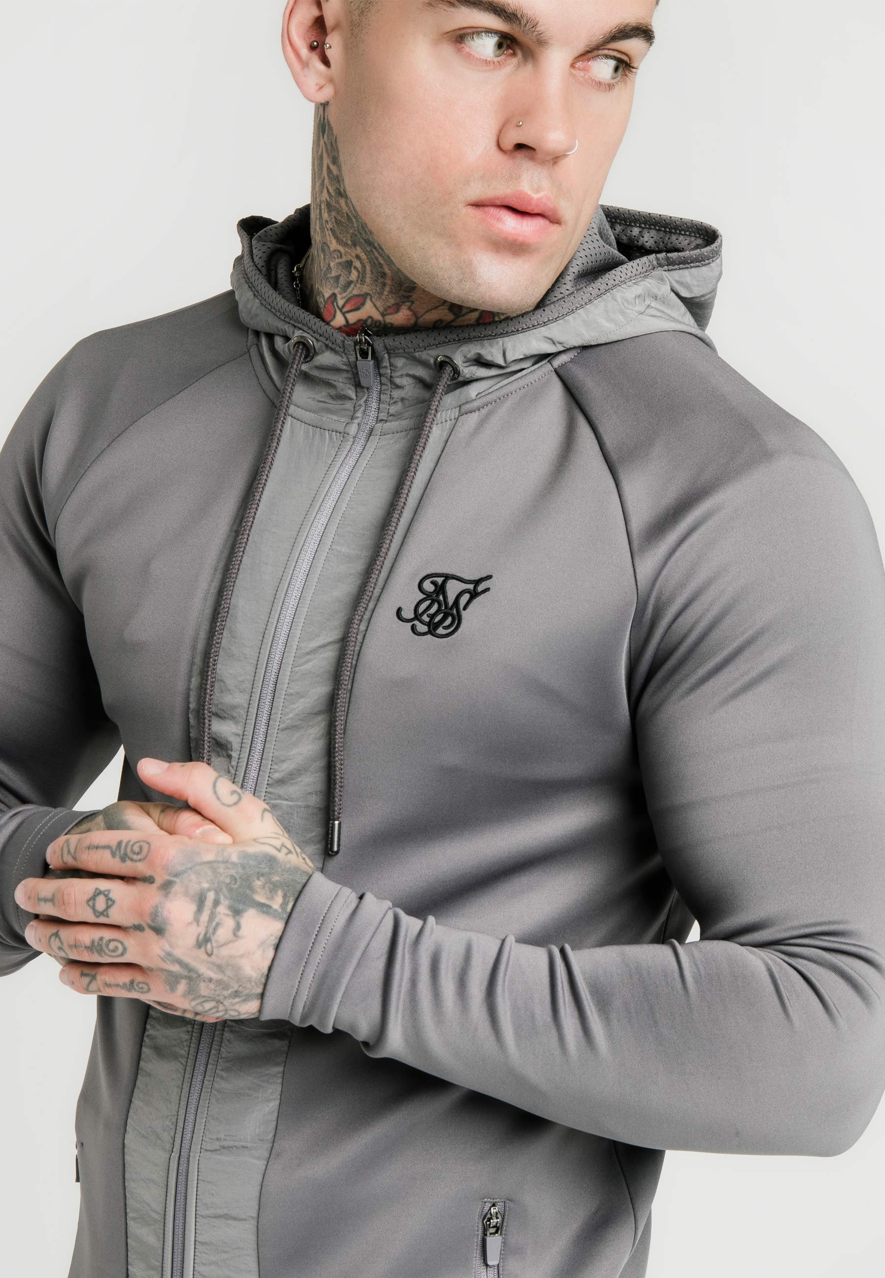 SIKSILK CREASED ZIP THROUGH HOODIE - Sudadera con cremallera - grey