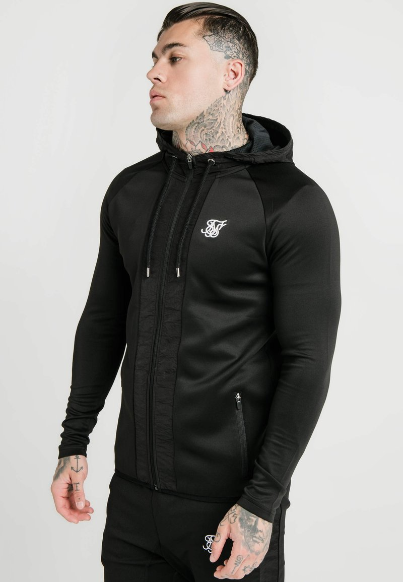 SIKSILK - CREASED ZIP THROUGH HOODIE - Hoodie met rits - black