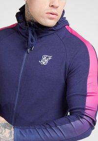 SIKSILK - FADE PANEL ZIP THROUGH HOODIE - Zip-up hoodie - navy / neon fade - 5
