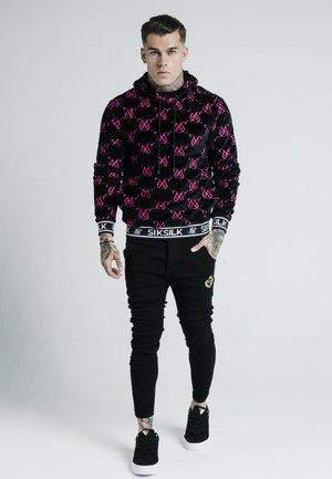 DANI ALVES DEVORE VELVET OVERHEAD HOODIE - Bluza z kapturem - black/pink