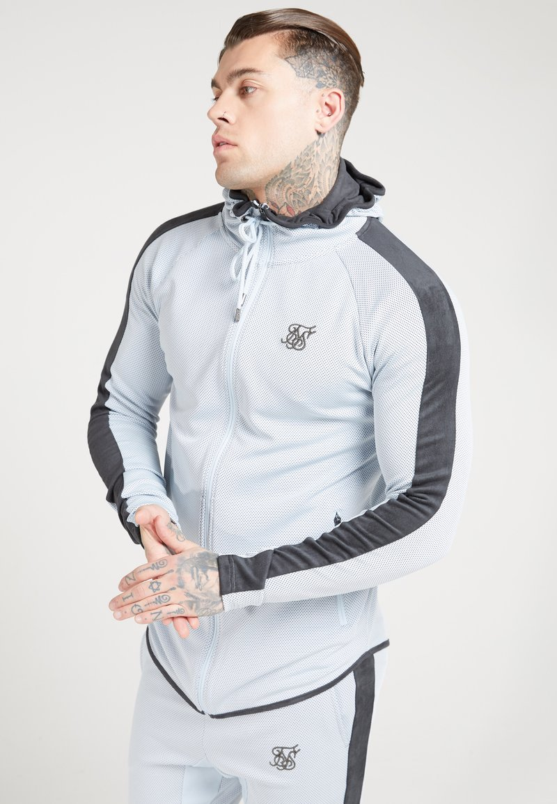 SIKSILK - ATHLETE EYELET ZIP THROUGH HOODIE - Trainingsjacke - ice grey/charcoal