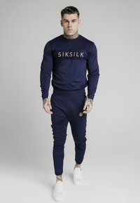 SIKSILK - EYELET PANEL CREW - Long sleeved top - navy eclipse - 0