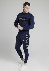 SIKSILK - EYELET PANEL CREW - Long sleeved top - navy eclipse - 1