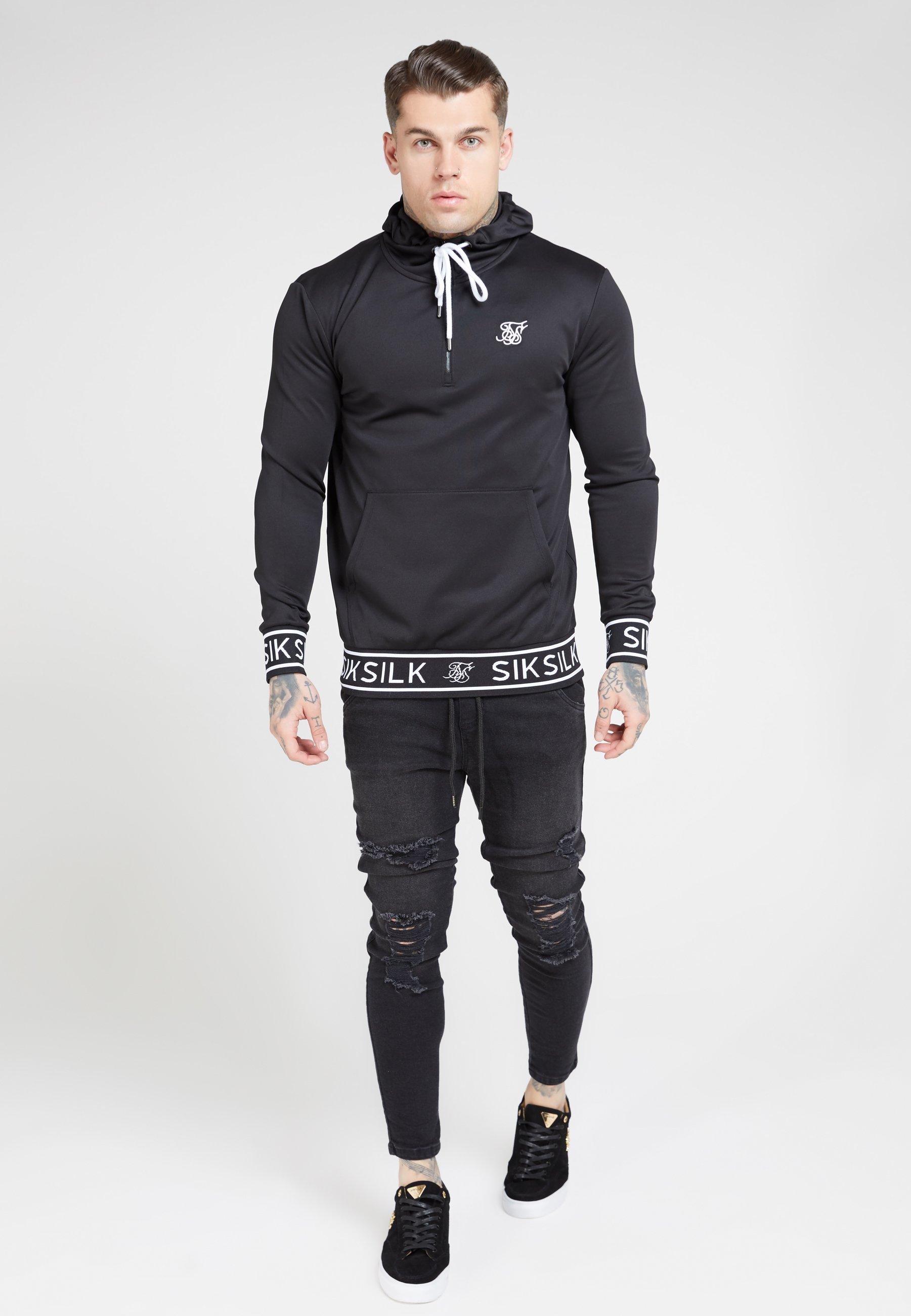 SIKSILK Bluza z kapturem - black
