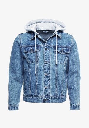 DETACHABLE HOOD - Giacca di jeans - mid wash blue