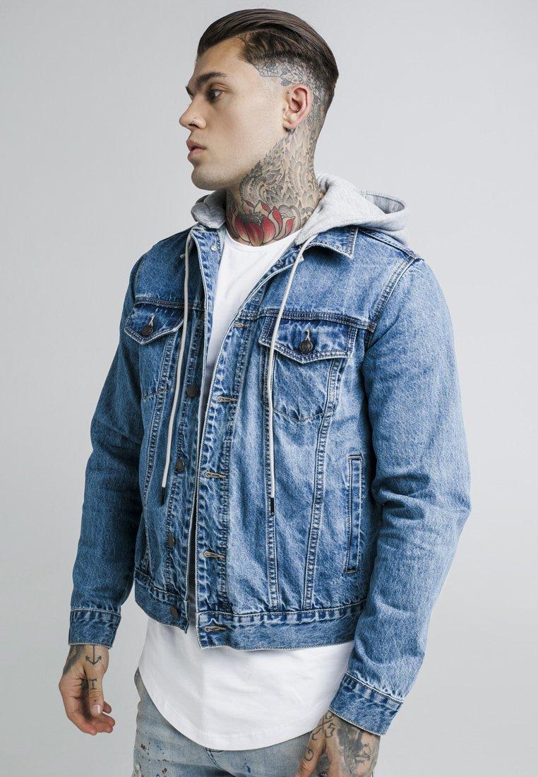 SIKSILK - DETACHABLE HOOD - Denim jacket - mid wash blue