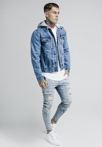 SIKSILK - DETACHABLE HOOD - Denim jacket - mid wash blue - 1