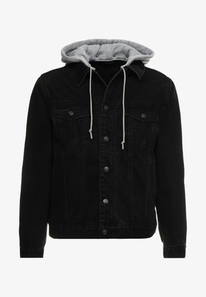 DETACHABLE HOOD - Veste en jean - washed black