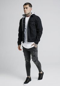 SIKSILK - DETACHABLE HOOD - Denim jacket - washed black - 1