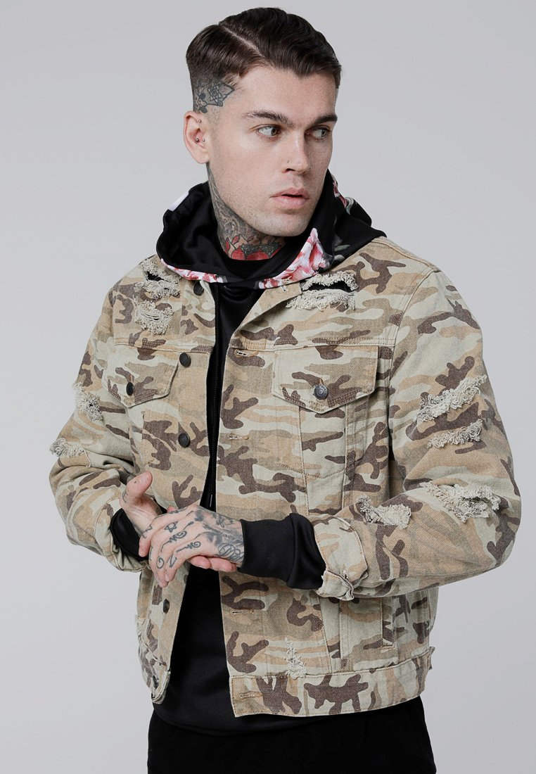 SIKSILK - COLLARLESS JACKET - Denim jacket - desert