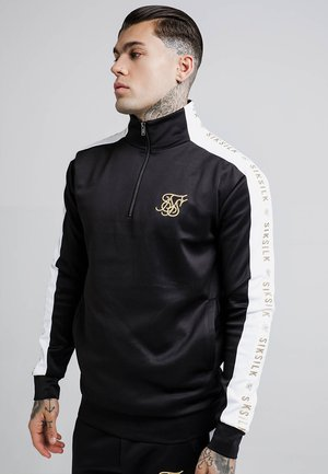 QUARTER ZIP RACER TAPE FUNNEL NECK TRACK - Camiseta de manga larga - black/white/gold