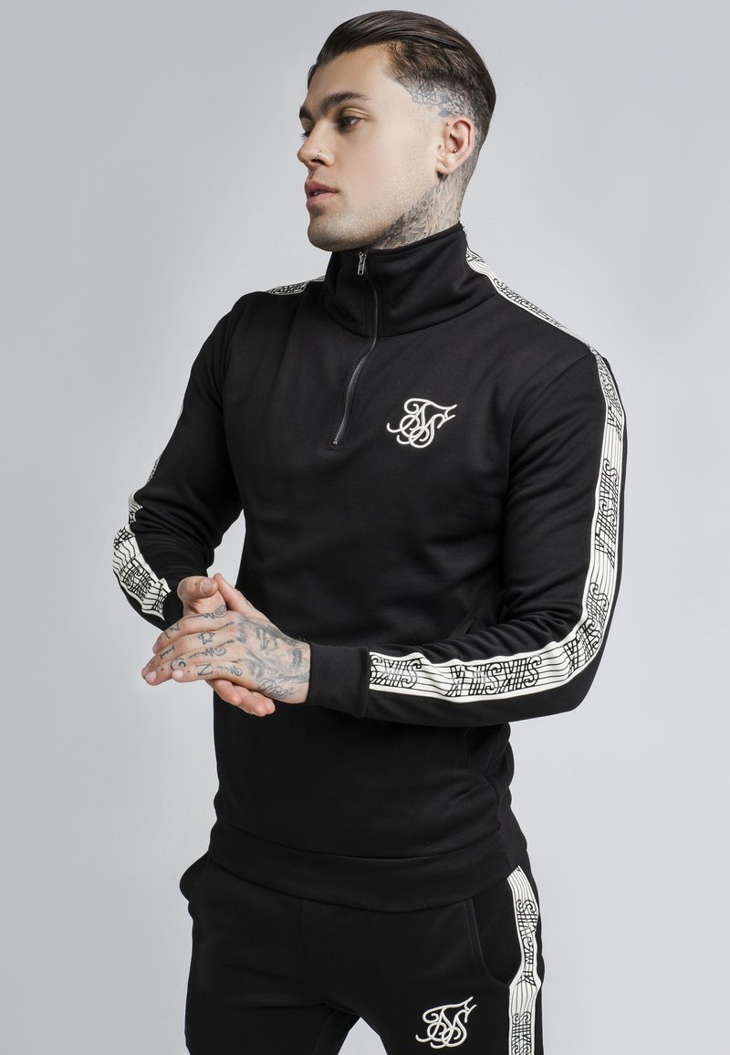 SIKSILK - QUARTER ZIP RUNNER TOP - Maglietta a manica lunga - black