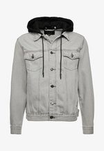 WITH DETACHABLE HOOD - Denim jacket - grey