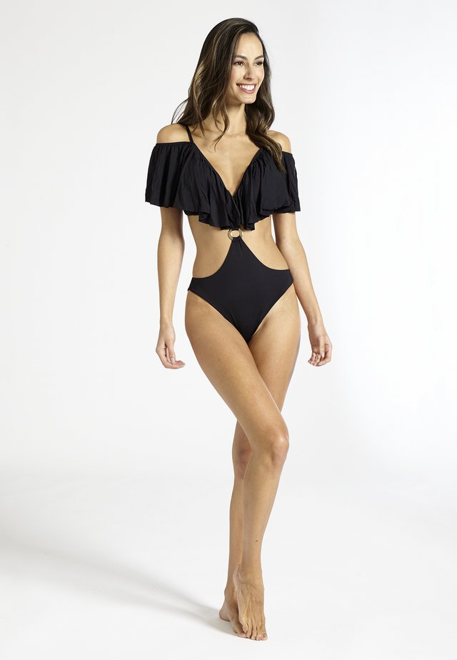 PISCO RUFFLED - Swimsuit - black