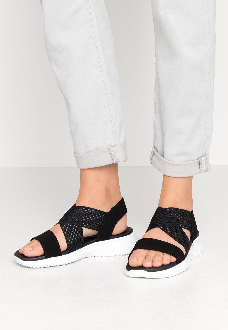 Skechers - ULTRA FLEX NEON STAR - Sandaletter med kilklack - black