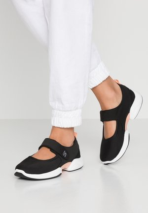 LAB CHIC INTUITION - Ankle strap ballet pumps - black/white