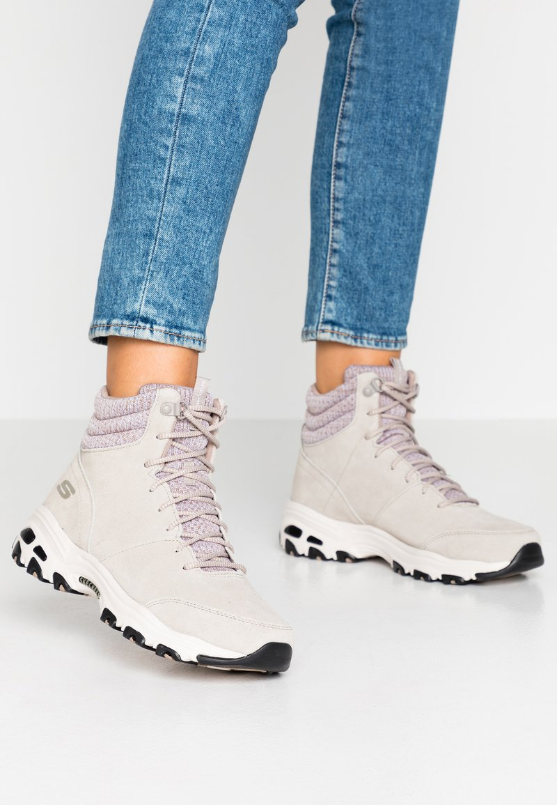 Skechers - D'LITES - Lace-up ankle boots - taupe