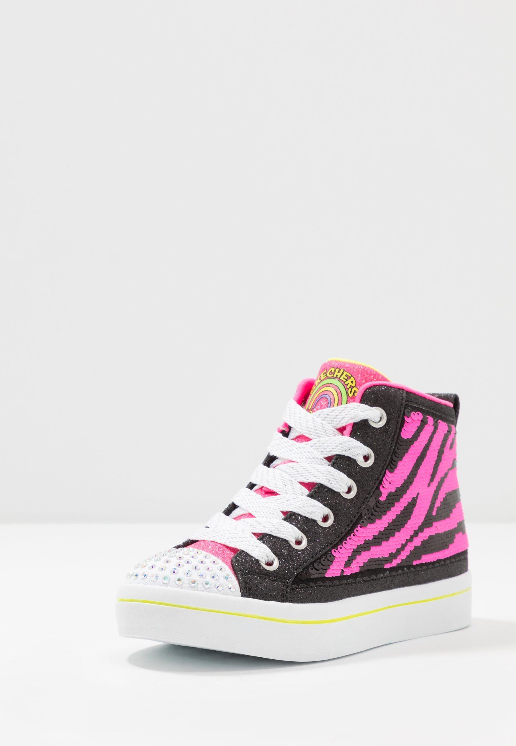 Skechers FLIP-KICKS ZEBRA REVERSIBLE SEQUINS - High-top trainers - black sparkle/neon pink