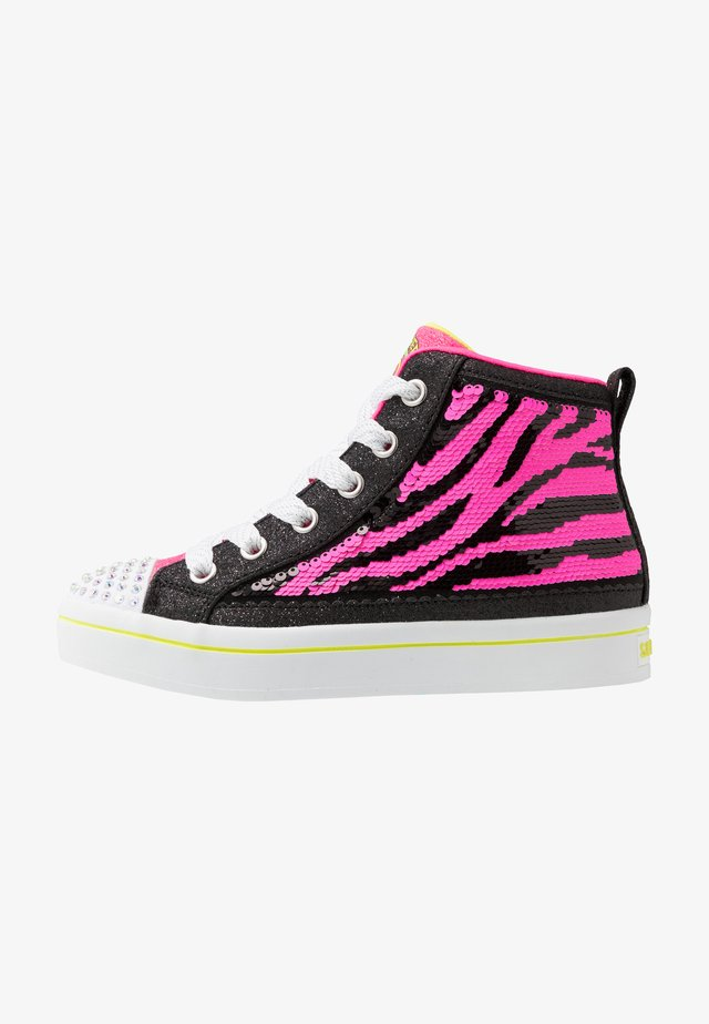 FLIP-KICKS ZEBRA REVERSIBLE SEQUINS - Korkeavartiset tennarit - black sparkle/neon pink