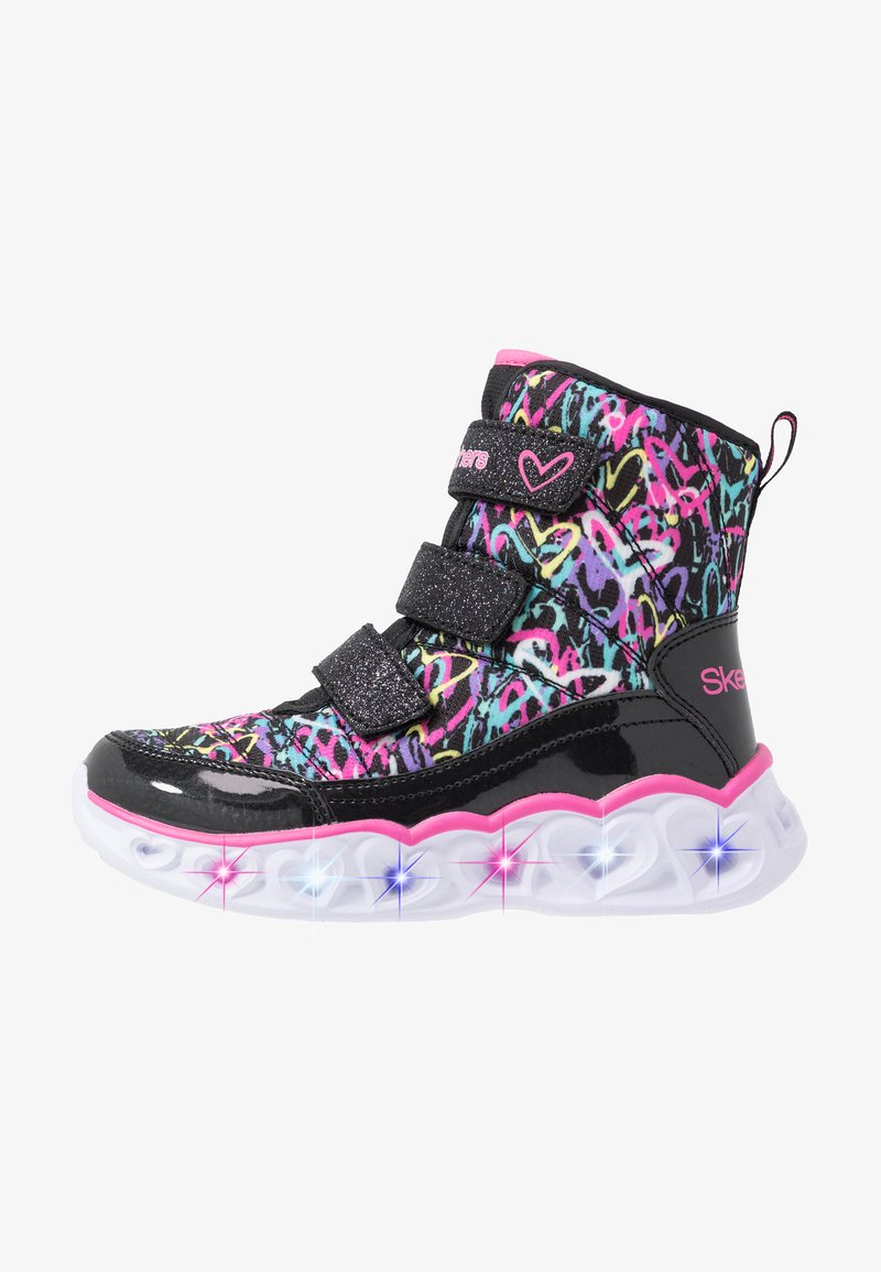 Skechers - HEART LIGHTS - Classic ankle boots - black sparkle/hot pink/multicolor