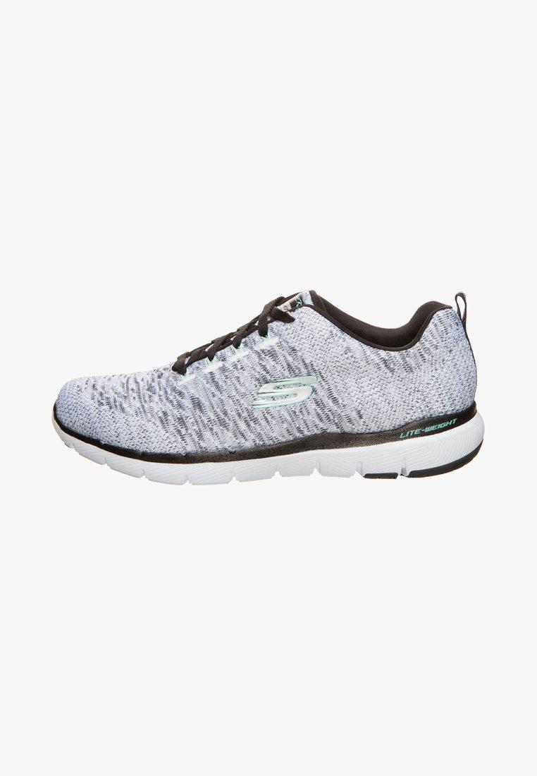 Skechers - FLEX APPEAL 3.0 - Trainers - white/black knit mesh/ligth aqua trim
