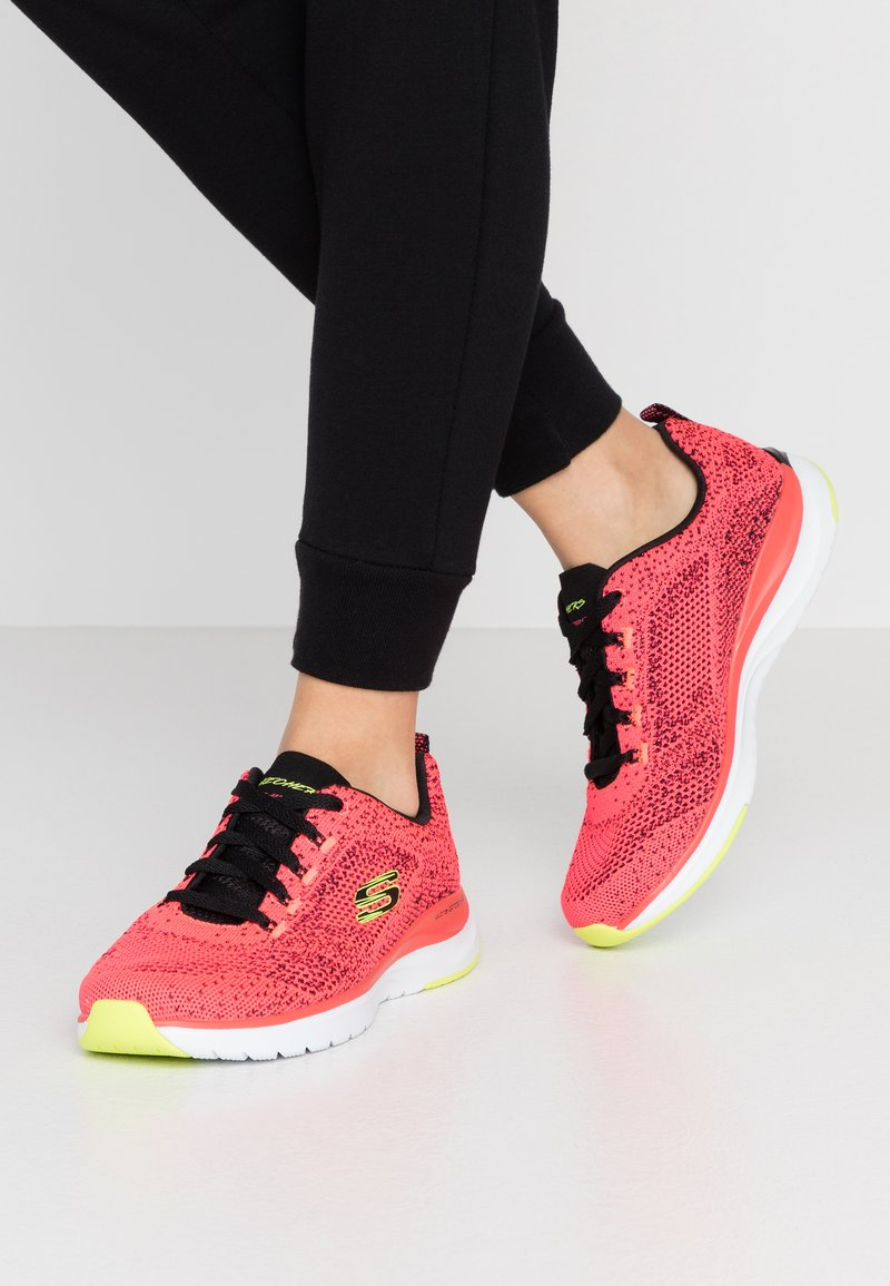 Skechers Sport - ULTRA GROOVE - Trainers - hot coral/black/lime