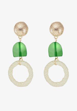 STRAW GEM DROP EARRING - Pendientes - green