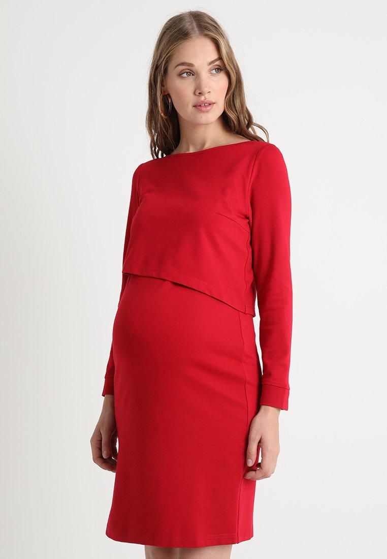 Slacks & Co. - ASSYMETRIC LAYER DRESS - Trikoomekko - red