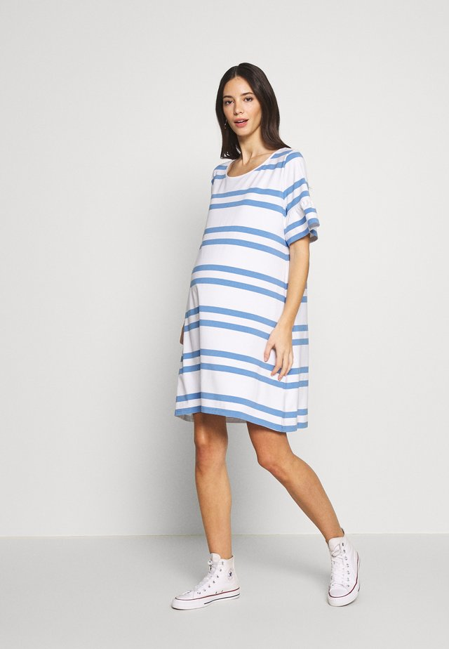 VERONIKA - Jersey dress - sky blue/white