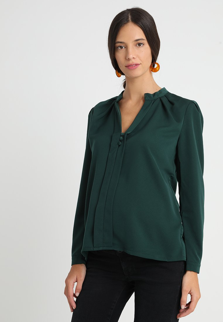 Slacks & Co. - PUFF SHOULDER V NECK BLOUSE - Pusero - emerald green