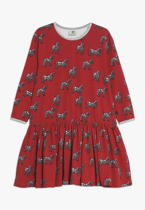 DRESS WITH HORSES - Vestido ligero - dark red
