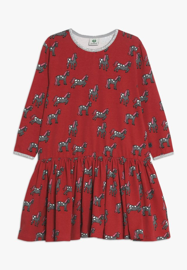 DRESS WITH HORSES - Jerseykleid - dark red