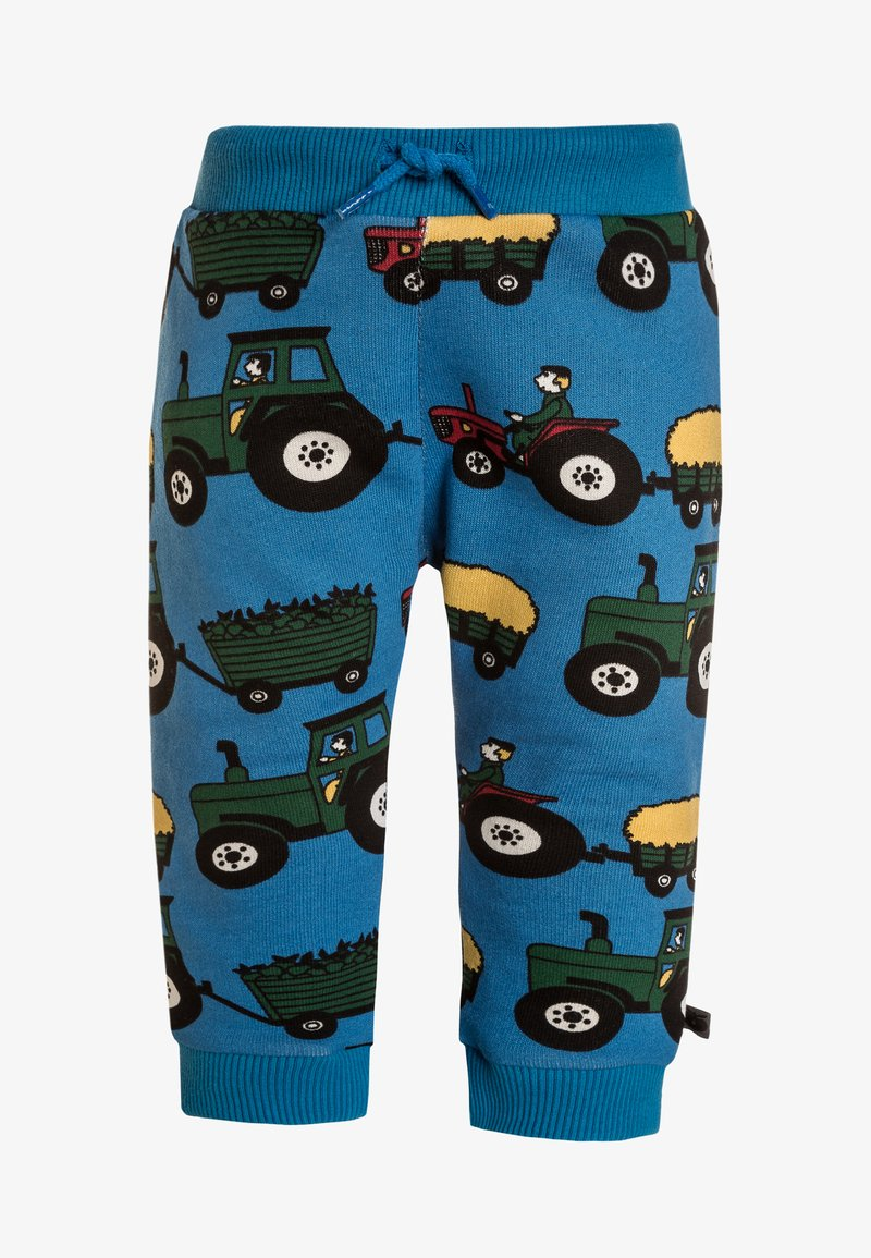 Småfolk - BABY PANTS WITH TRACTOR - Stoffhose - cendre blue
