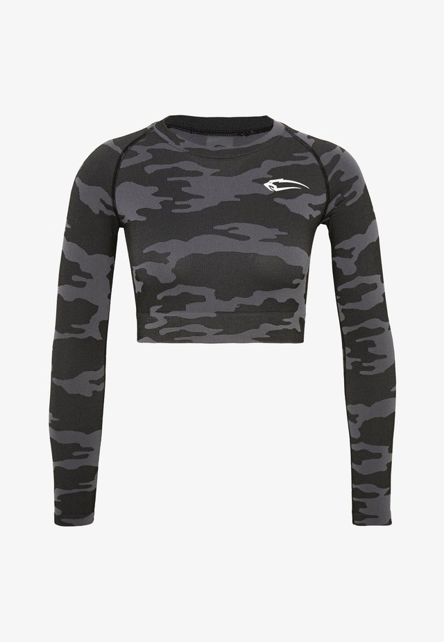 SEAMLESS CROPPED LONGSLEEVE RESERVE - Långärmad tröja - black
