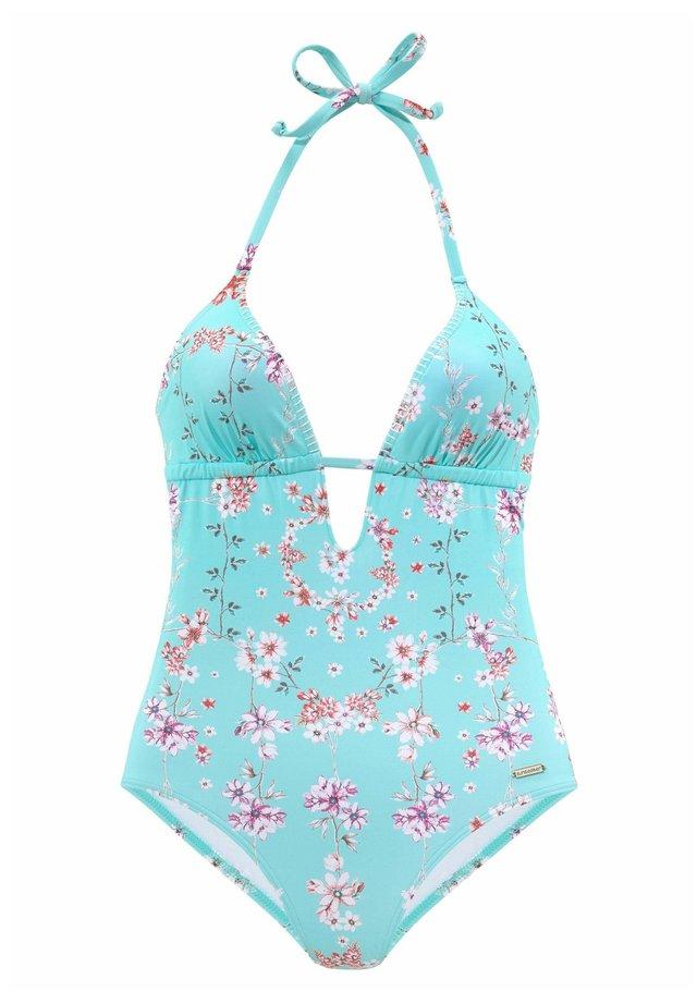 Swimsuit - türkis-bedruckt