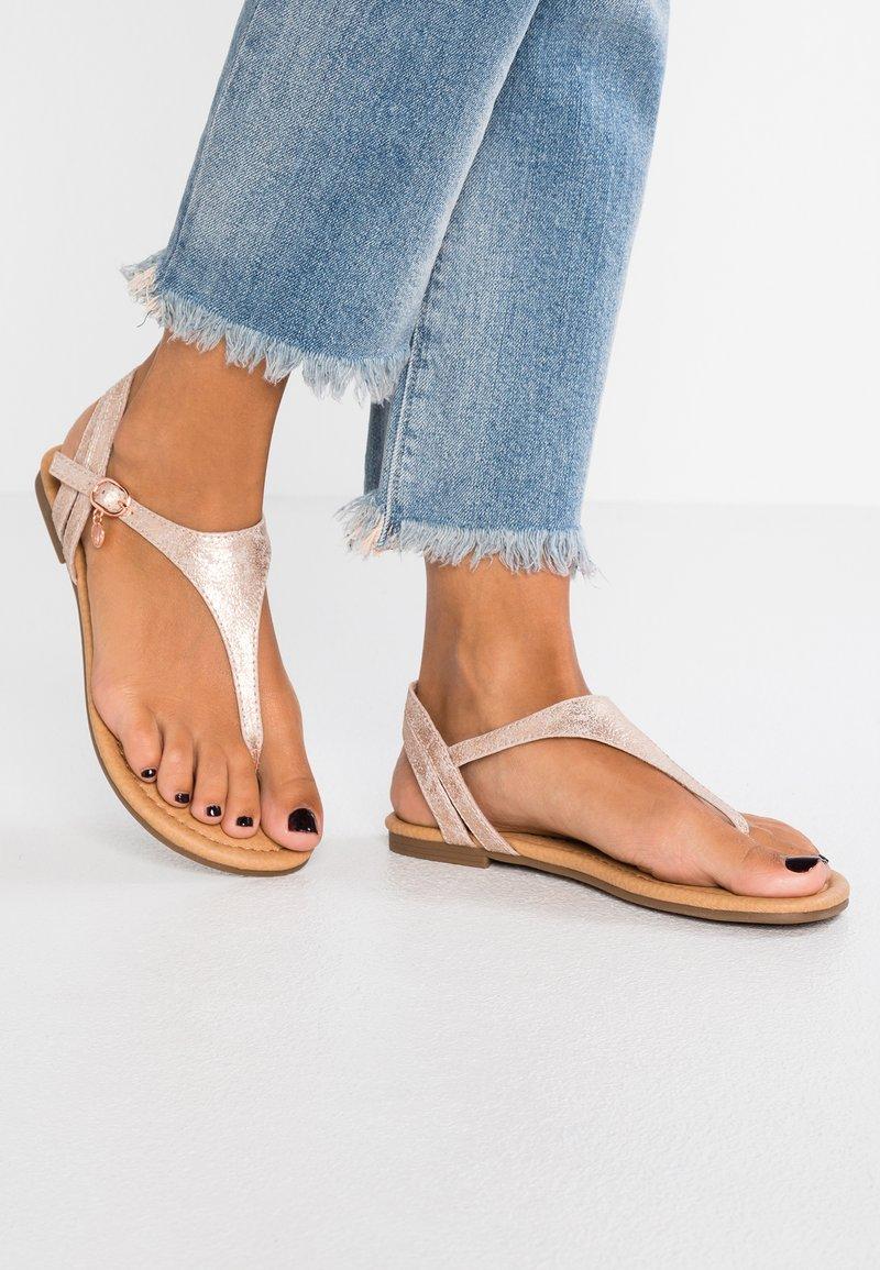 s.Oliver - T-bar sandals - rose gold metallic