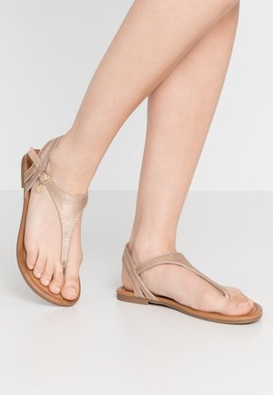 T-bar sandals - rose gold metallic